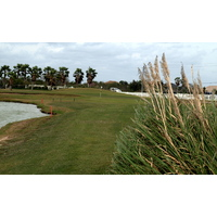 The 14th at South Padre Island Golf Club is a tricky dogleg left par 4.