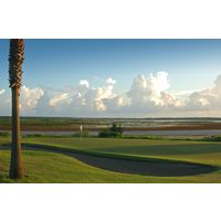 The fifth hole at South Padre Island Golf Club bumps up against the Laguna Madre.