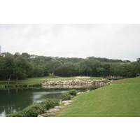 The par-3 fourth h0ole at the Westin La Cantera's Palmer Course plays entirely over water.