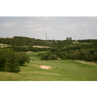 From an elevated tee, the par-5 16 hole at the Westin La Cantera's Palmer Course heads back uphill and to the right.