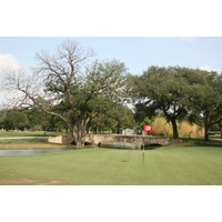 The 18th hole at historic Brackenridge Park Golf Course is a par 3 over water.
