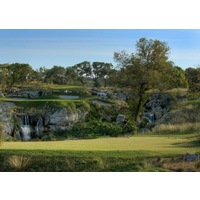 The signature par-3 16th hole at Cordillera Ranch plays over rocks and waterfalls.