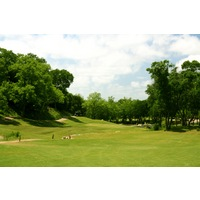 Crystal Falls Golf Course's narrow ninth hole has a creek running through the fairway and to right of the green.