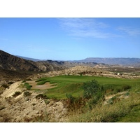 The seventh green at Lajitas Resort's Black Jack's Crossing golf course sits on a peninsula.