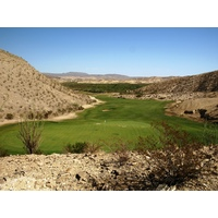 The 12th at Lajitas Resort's Black Jack's Crossing Course is a short uphill dogleg right par 4.
