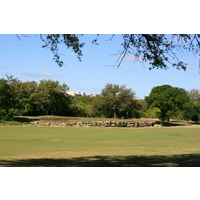 The seventh hole on the Creeks nine at Hill Country Golf Club is a sharp dogleg left.