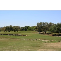 The ninth hole on the Oaks nine at Hill Country Golf Club is a risk-reward par 5.