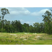 The hollows in front of the green on the sixth hole were created from the dirt used to build up the fifth green on The Needler Course at Whispering Pines Golf Club.