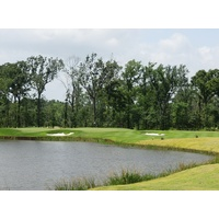 There's water everywhere on the seventh hole on Whispering Pines' Needler Course, which can play as long as 200 yards.