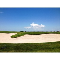 Not only is there water, but there are also some pretty formidable bunkers at Moody Gardens Golf Course in Galveston.