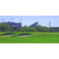Kyle Field is clearly visible coming into the green on the 404-yard par-4 ninth hole on the Campus Course at Texas A&M.