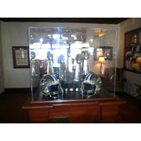 You'll stroll by replica Super Bowl trophies in the lobby at Cowboys Golf Club.