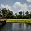 A view over the water of a green at Hearthstone Country Club.