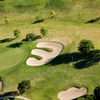 Aerial view of green protected by bunkers (Courtesy of Victoria Country Club)