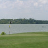 A view of the 3rd green with water in background at Cleburne Golf Links