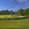 A view of a green protected by sand traps at South Shore Harbour Country Club
